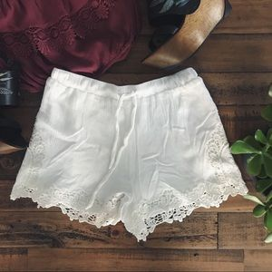 Pins and Needles Lace Trimmed Soft Shorts